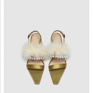 Zara heels with feather details